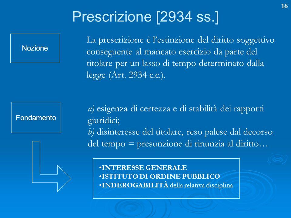 16 Prescrizione [2934 ss.] La prescrizione è lestinzione del diritto soggettivo conseguente al mancato esercizio da parte del titolare per un lasso di