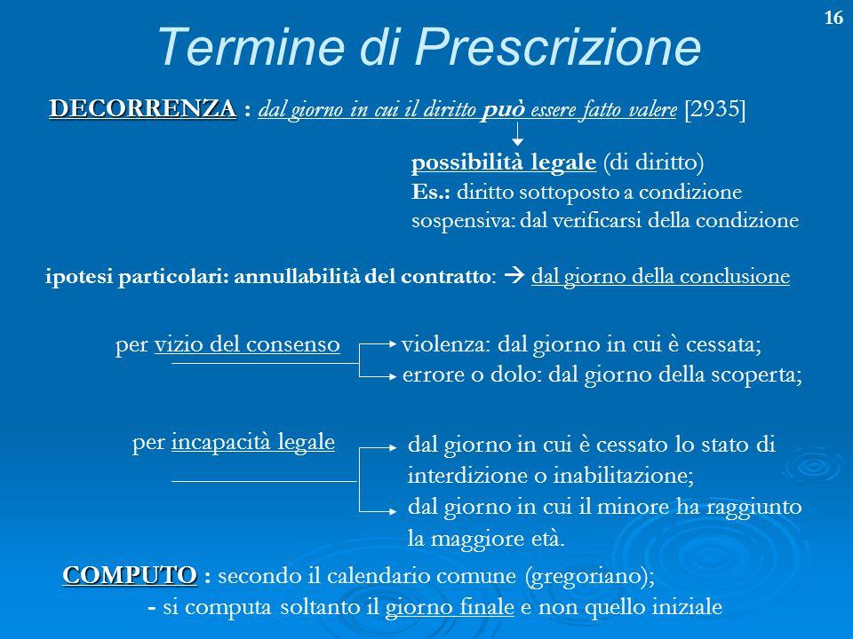 16 Termine di Prescrizione DECORRENZA DECORRENZA : dal giorno in cui il diritto può essere fatto valere [2935] possibilità legale (di diritto) Es.: di