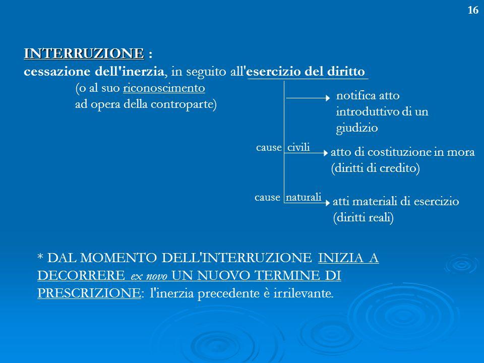 16 INTERRUZIONE INTERRUZIONE : cessazione dell'inerzia, in seguito all'esercizio del diritto notifica atto introduttivo di un giudizio (o al suo ricon