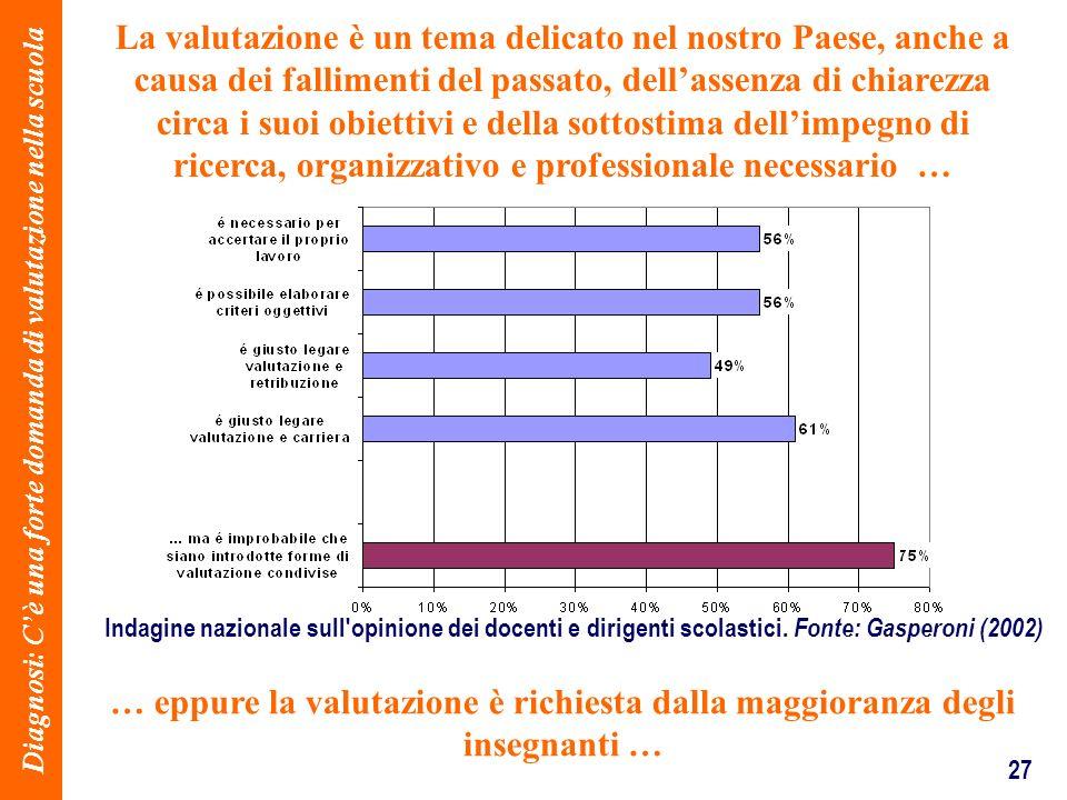 27 La valutazione è un tema delicato nel nostro Paese, anche a causa dei fallimenti del passato, dellassenza di chiarezza circa i suoi obiettivi e del