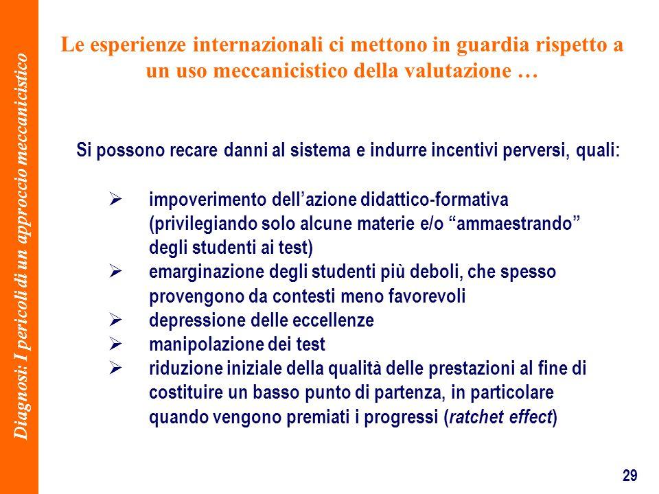 29 Le esperienze internazionali ci mettono in guardia rispetto a un uso meccanicistico della valutazione … impoverimento dellazione didattico-formativ