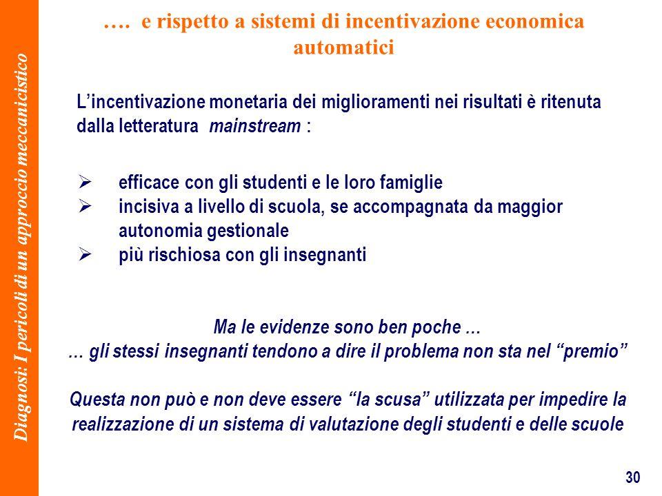 30 …. e rispetto a sistemi di incentivazione economica automatici efficace con gli studenti e le loro famiglie incisiva a livello di scuola, se accomp