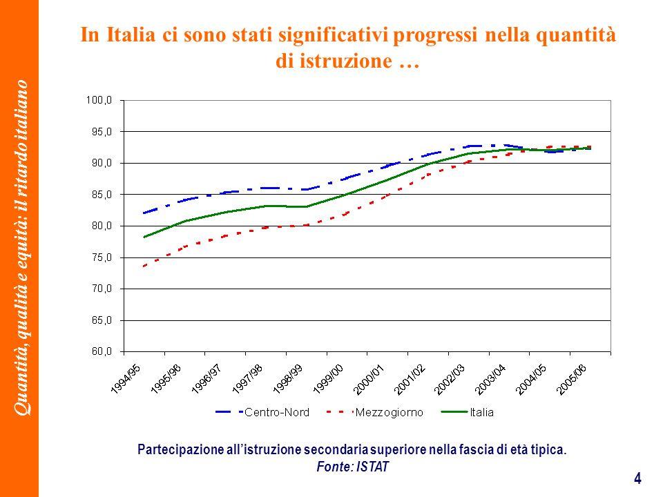 4 In Italia ci sono stati significativi progressi nella quantità di istruzione … Partecipazione allistruzione secondaria superiore nella fascia di età tipica.
