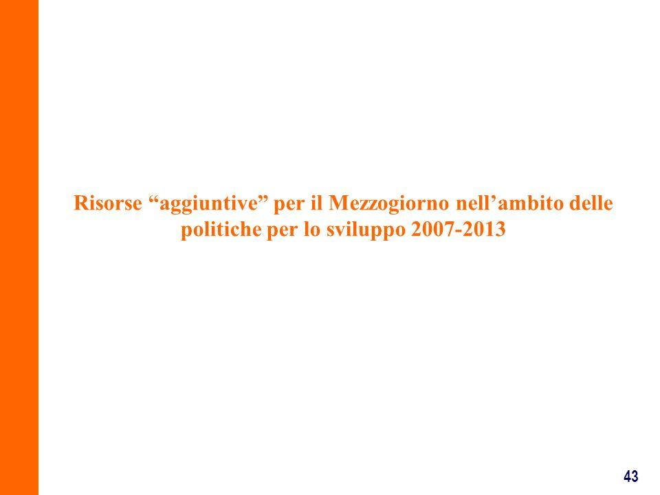 43 Risorse aggiuntive per il Mezzogiorno nellambito delle politiche per lo sviluppo 2007-2013