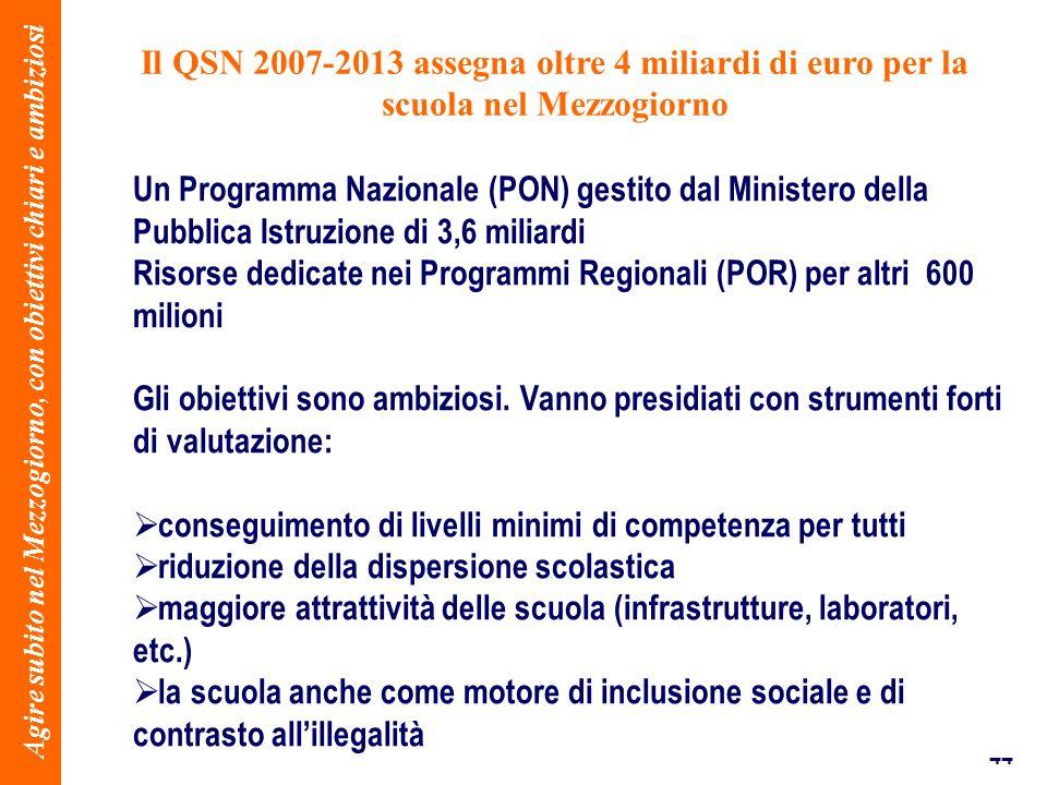 44 Il QSN 2007-2013 assegna oltre 4 miliardi di euro per la scuola nel Mezzogiorno Agire subito nel Mezzogiorno, con obiettivi chiari e ambiziosi Un Programma Nazionale (PON) gestito dal Ministero della Pubblica Istruzione di 3,6 miliardi Risorse dedicate nei Programmi Regionali (POR) per altri 600 milioni Gli obiettivi sono ambiziosi.