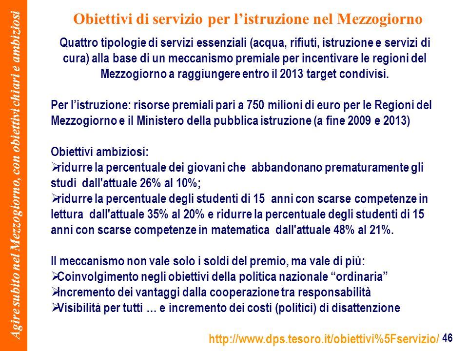 46 Obiettivi di servizio per listruzione nel Mezzogiorno Agire subito nel Mezzogiorno, con obiettivi chiari e ambiziosi Quattro tipologie di servizi e