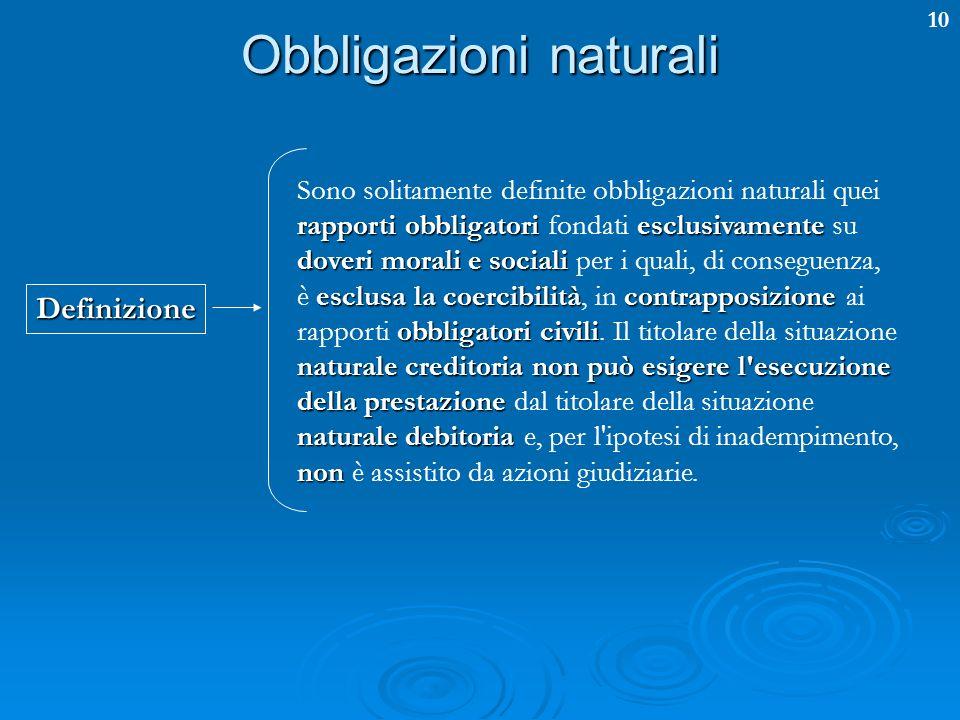 10 Obbligazioni naturali rapporti obbligatoriesclusivamente doveri morali e sociali esclusa la coercibilitàcontrapposizione obbligatori civili natural