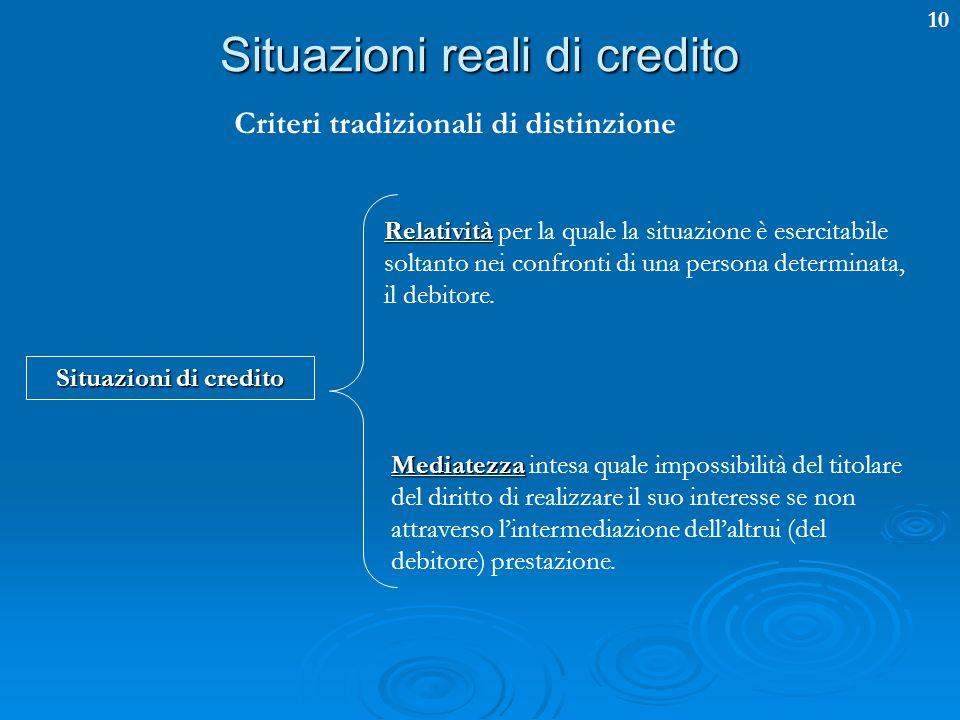 10 Situazioni reali di credito Criteri tradizionali di distinzione Situazioni di credito Relatività Relatività per la quale la situazione è esercitabi