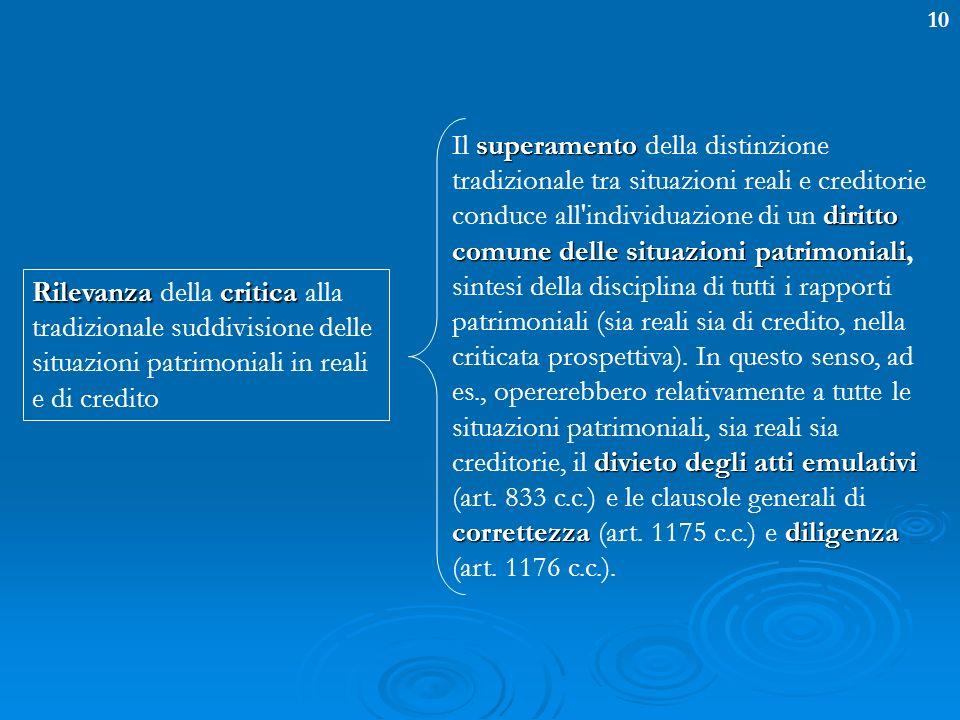 10 superamento diritto comune delle situazioni patrimoniali divieto degli atti emulativi correttezzadiligenza Il superamento della distinzione tradizi