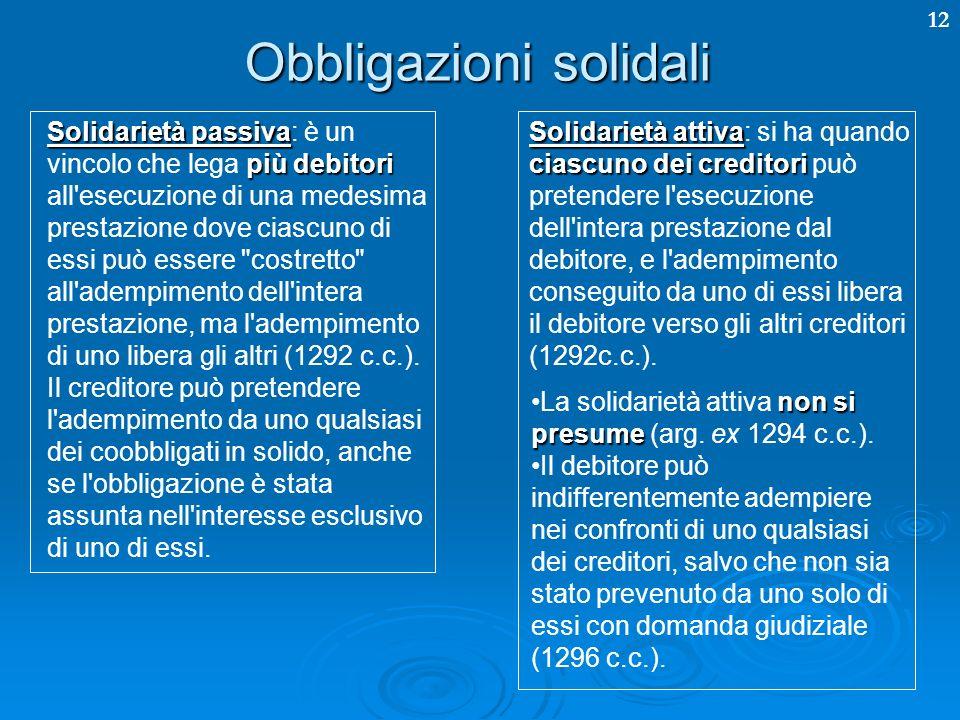 12 Obbligazioni solidali Solidarietà passiva più debitori Solidarietà passiva: è un vincolo che lega più debitori all esecuzione di una medesima prestazione dove ciascuno di essi può essere costretto all adempimento dell intera prestazione, ma l adempimento di uno libera gli altri (1292 c.c.).