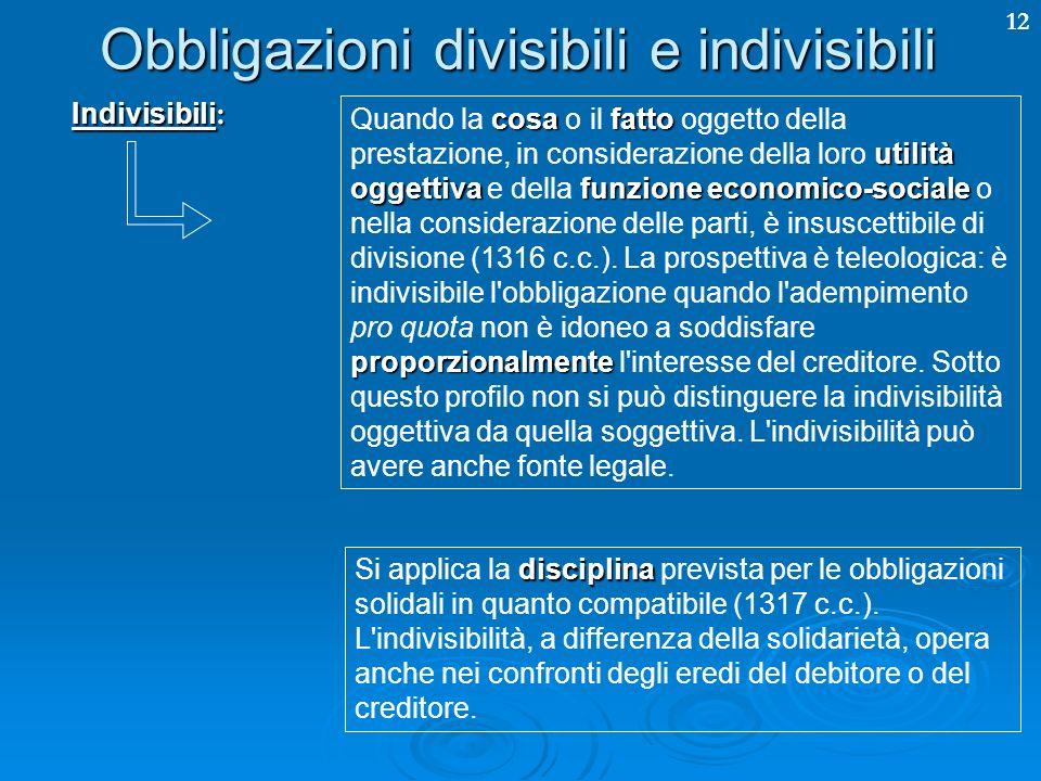 12 Obbligazioni divisibili e indivisibili Indivisibili : cosafatto utilità oggettivafunzione economico-sociale proporzionalmente Quando la cosa o il fatto oggetto della prestazione, in considerazione della loro utilità oggettiva e della funzione economico-sociale o nella considerazione delle parti, è insuscettibile di divisione (1316 c.c.).