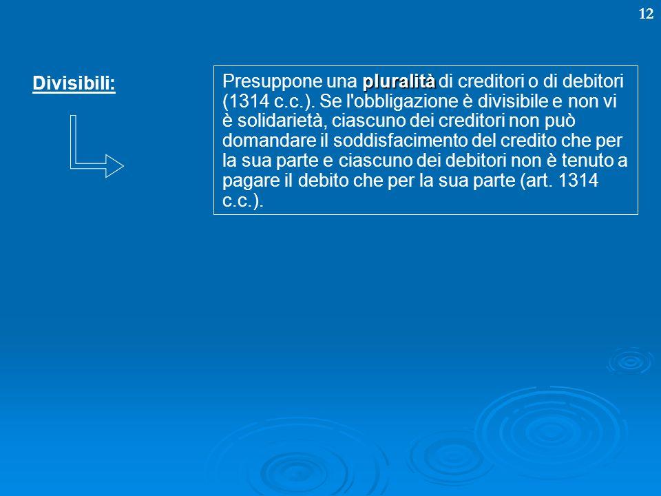 12 Divisibili: pluralità Presuppone una pluralità di creditori o di debitori (1314 c.c.). Se l'obbligazione è divisibile e non vi è solidarietà, ciasc