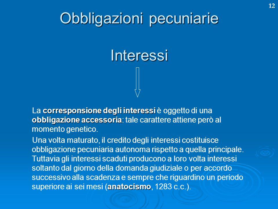 12 Obbligazioni pecuniarie Gli interessi possono, altresì, essere: Legali Legali: fissati nella misura del 2.5% annuo (1284 c.c.).
