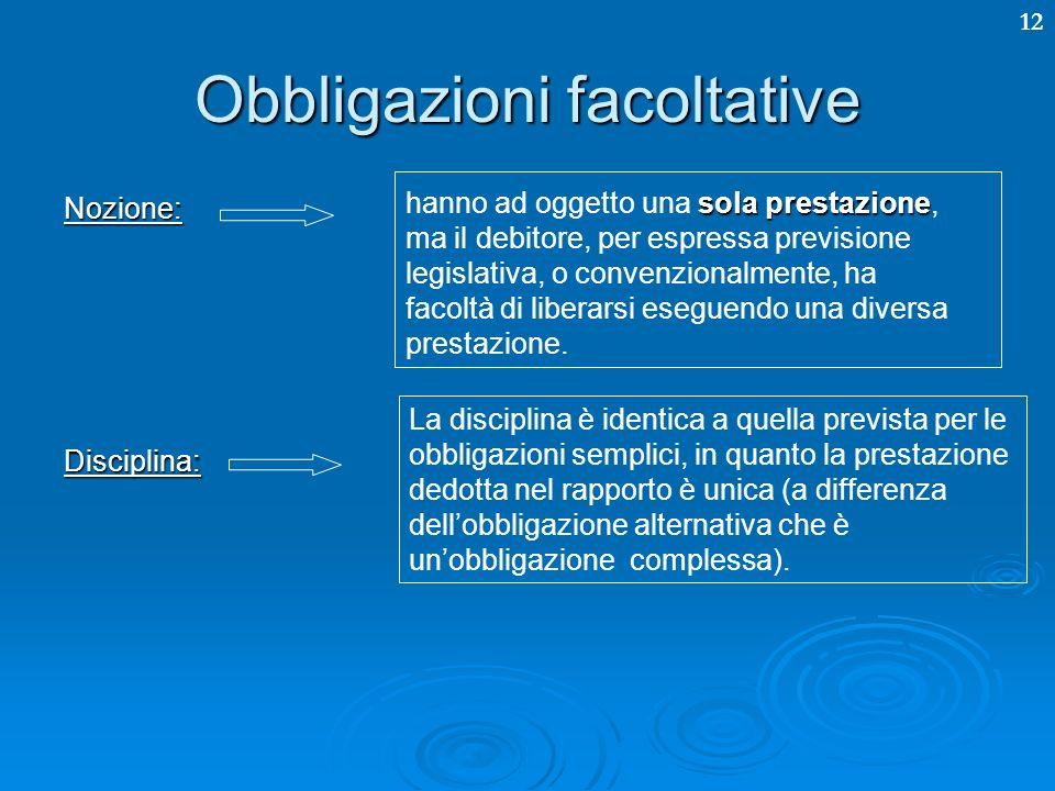 12 Obbligazioni facoltative Nozione:Disciplina: sola prestazione hanno ad oggetto una sola prestazione, ma il debitore, per espressa previsione legisl