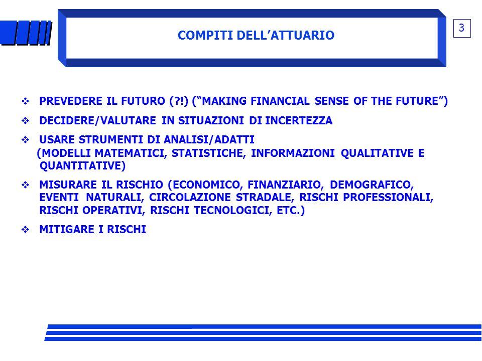 COMPITI DELLATTUARIO 3 PREVEDERE IL FUTURO (?!) (MAKING FINANCIAL SENSE OF THE FUTURE) DECIDERE/VALUTARE IN SITUAZIONI DI INCERTEZZA USARE STRUMENTI D