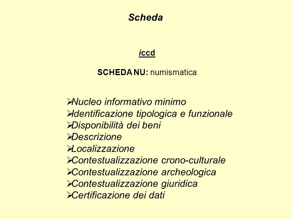 Scheda iccd SCHEDA NU: numismatica Nucleo informativo minimo Identificazione tipologica e funzionale Disponibilità dei beni Descrizione Localizzazione