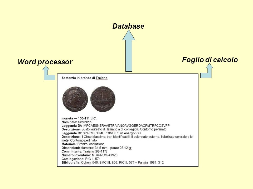 Foglio di calcolo Word processor Database