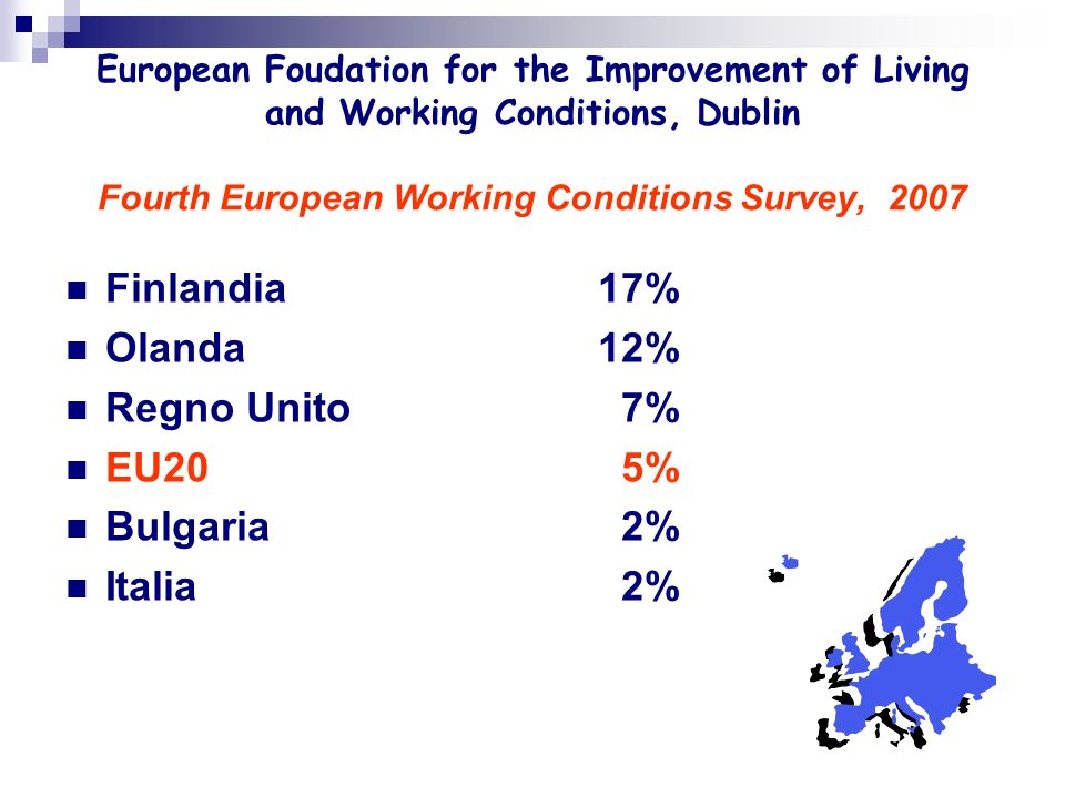 European Foudation for the Improvement of Living and Working Conditions, Dublin Fourth European Working Conditions Survey, 2007 Finlandia 17% Olanda 1