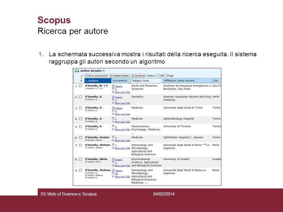 04/02/2014ISI Web of Science e Scopus Scopus 1.La schermata successiva mostra i risultati della ricerca eseguita. Il sistema raggruppa gli autori seco