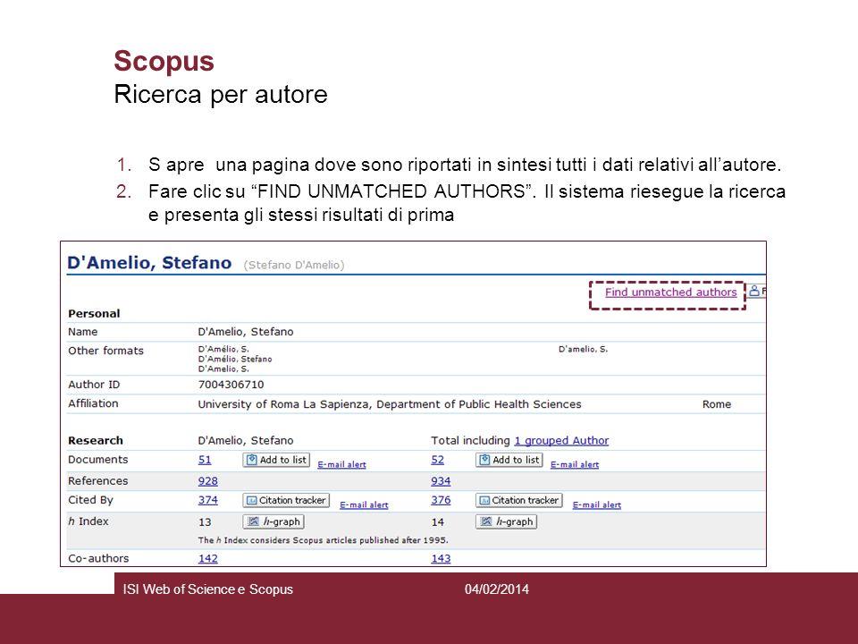 04/02/2014ISI Web of Science e Scopus Scopus 1.S apre una pagina dove sono riportati in sintesi tutti i dati relativi allautore. 2.Fare clic su FIND U
