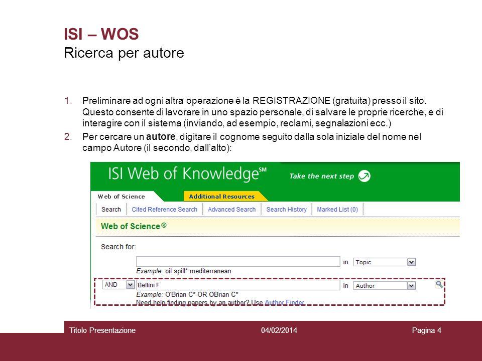 04/02/2014Titolo PresentazionePagina 4 ISI – WOS 1.Preliminare ad ogni altra operazione è la REGISTRAZIONE (gratuita) presso il sito. Questo consente