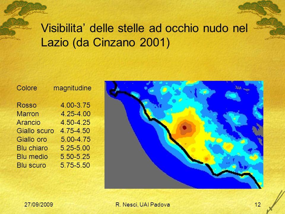 27/09/2009R. Nesci, UAI Padova12 Colore magnitudine Rosso 4.00-3.75 Marron 4.25-4.00 Arancio 4.50-4.25 Giallo scuro 4.75-4.50 Giallo oro 5.00-4.75 Blu