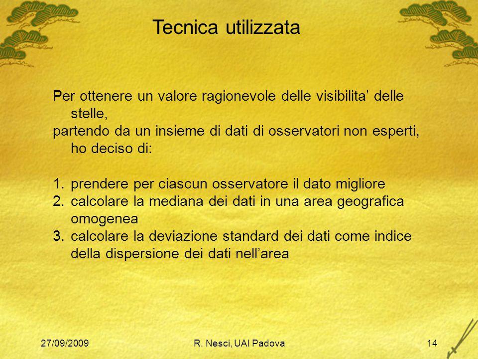 27/09/2009R. Nesci, UAI Padova14 Tecnica utilizzata Per ottenere un valore ragionevole delle visibilita delle stelle, partendo da un insieme di dati d