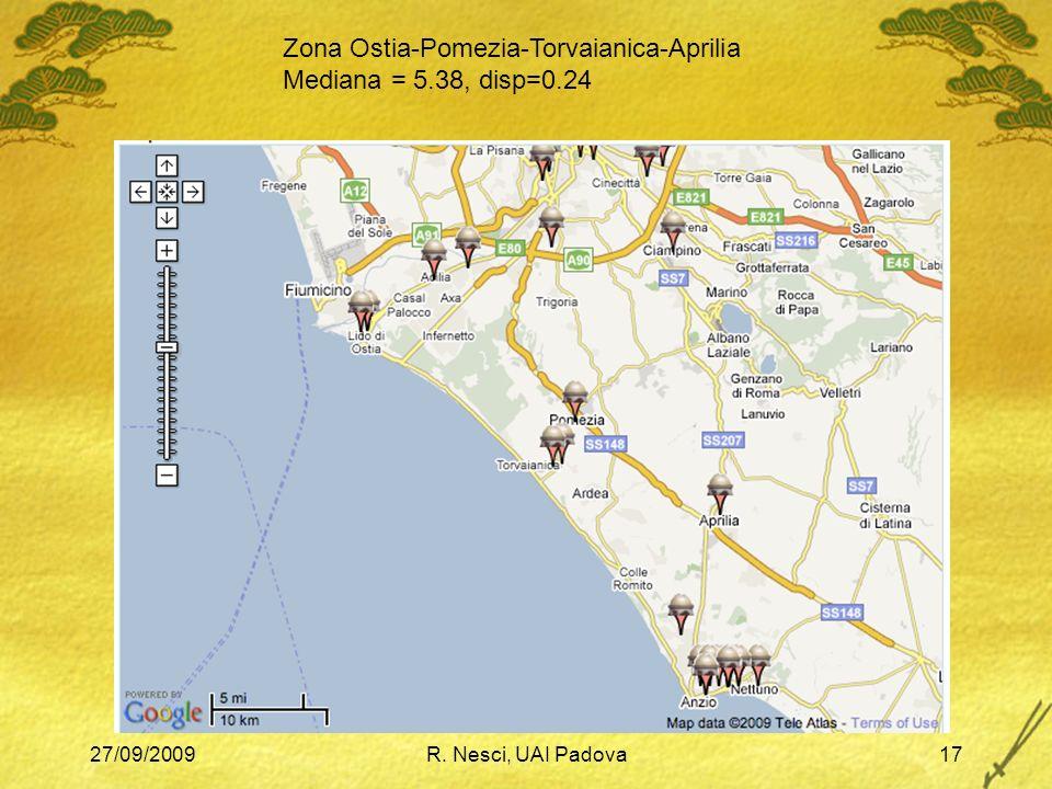 27/09/2009R. Nesci, UAI Padova17 Zona Ostia-Pomezia-Torvaianica-Aprilia Mediana = 5.38, disp=0.24