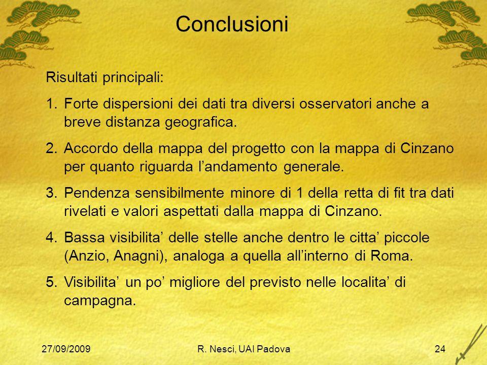 27/09/2009R. Nesci, UAI Padova24 Conclusioni Risultati principali: 1.Forte dispersioni dei dati tra diversi osservatori anche a breve distanza geograf