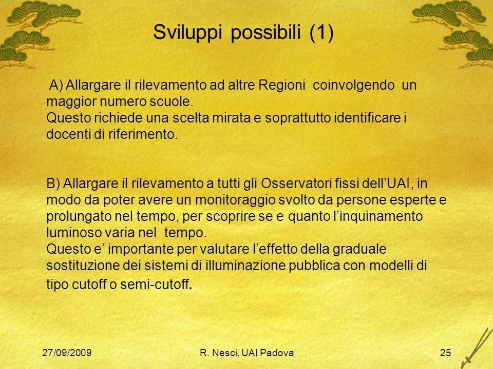 27/09/2009R. Nesci, UAI Padova25 Sviluppi possibili (1) A) Allargare il rilevamento ad altre Regioni coinvolgendo un maggior numero scuole. Questo ric