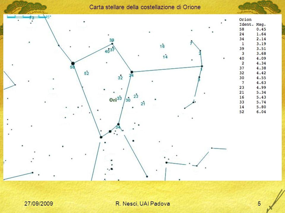 27/09/2009R. Nesci, UAI Padova5 Carta stellare della costellazione di Orione