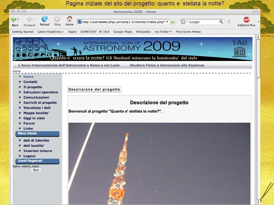 27/09/2009R. Nesci, UAI Padova8 Pagina iniziale del sito del progetto: quanto e stellata la notte?