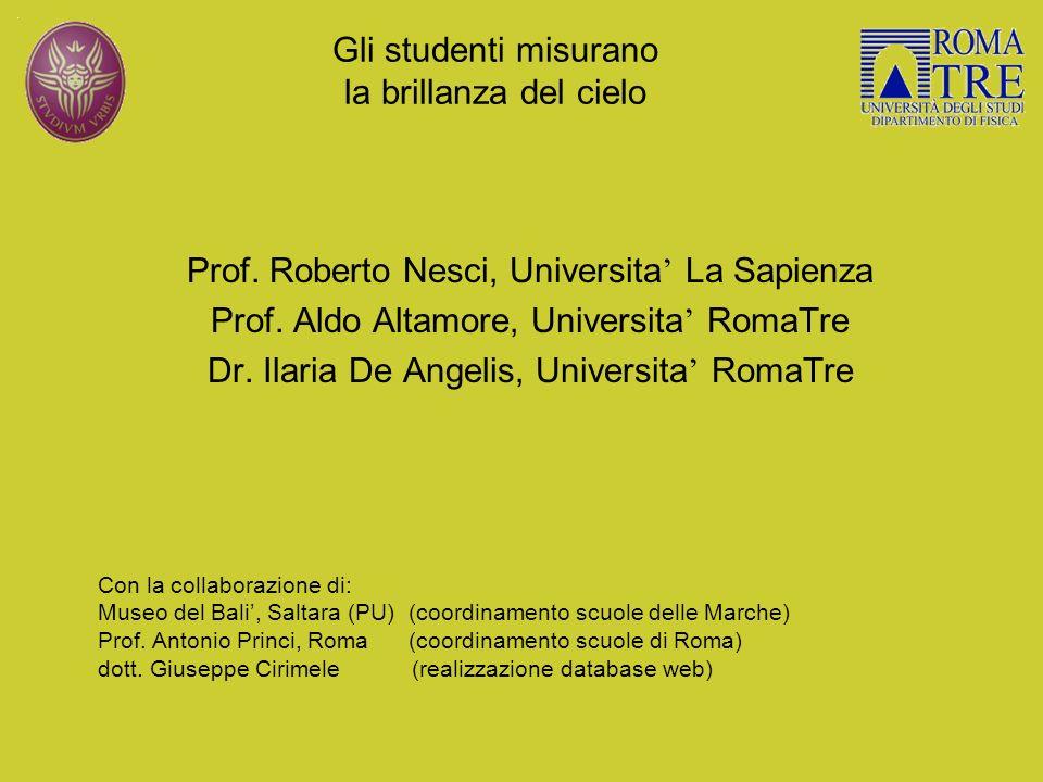Gli studenti misurano la brillanza del cielo Prof. Roberto Nesci, Universita La Sapienza Prof. Aldo Altamore, Universita RomaTre Dr. Ilaria De Angelis
