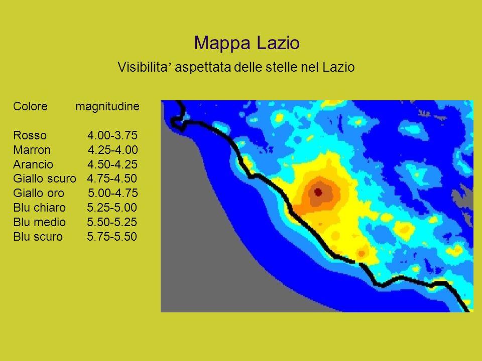 Mappa Lazio Visibilita aspettata delle stelle nel Lazio Colore magnitudine Rosso 4.00-3.75 Marron 4.25-4.00 Arancio 4.50-4.25 Giallo scuro 4.75-4.50 G