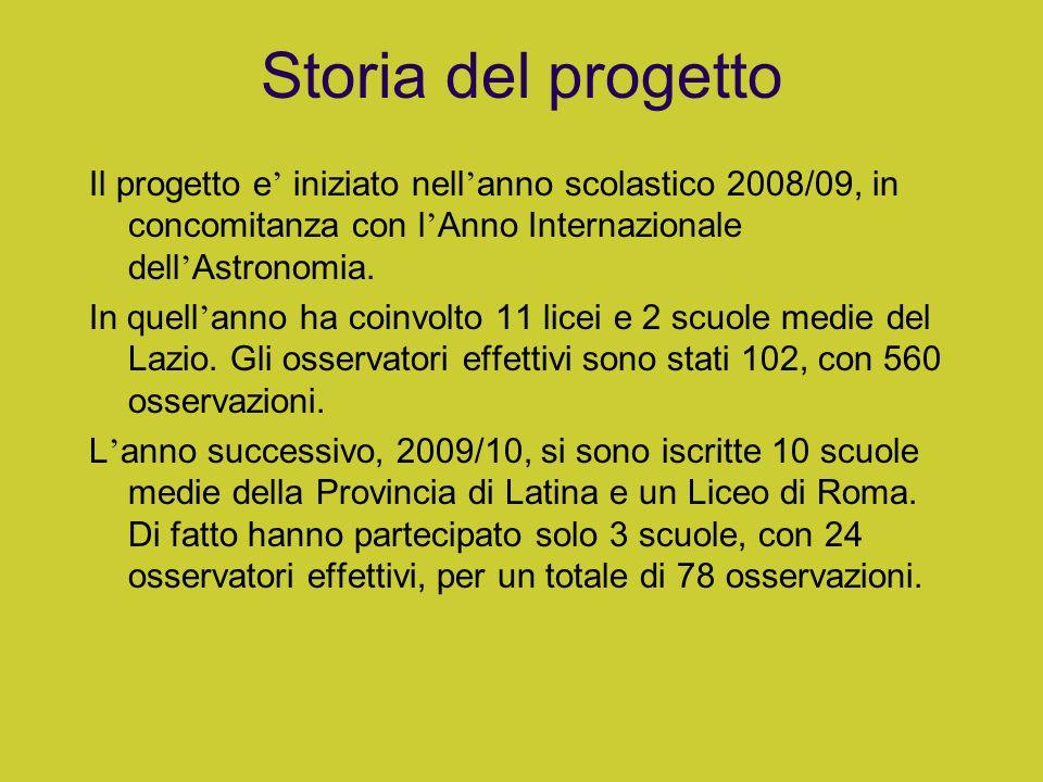 Storia del progetto Il progetto e iniziato nell anno scolastico 2008/09, in concomitanza con l Anno Internazionale dell Astronomia. In quell anno ha c