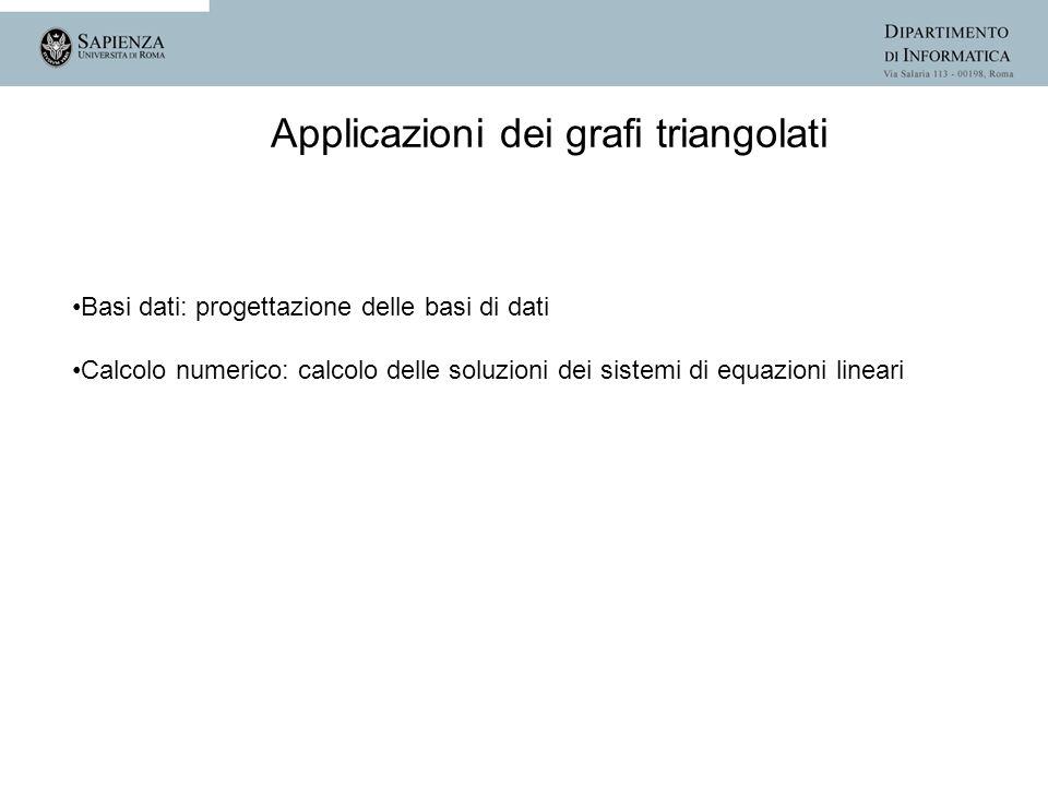 Applicazioni dei grafi triangolati Basi dati: progettazione delle basi di dati Calcolo numerico: calcolo delle soluzioni dei sistemi di equazioni line