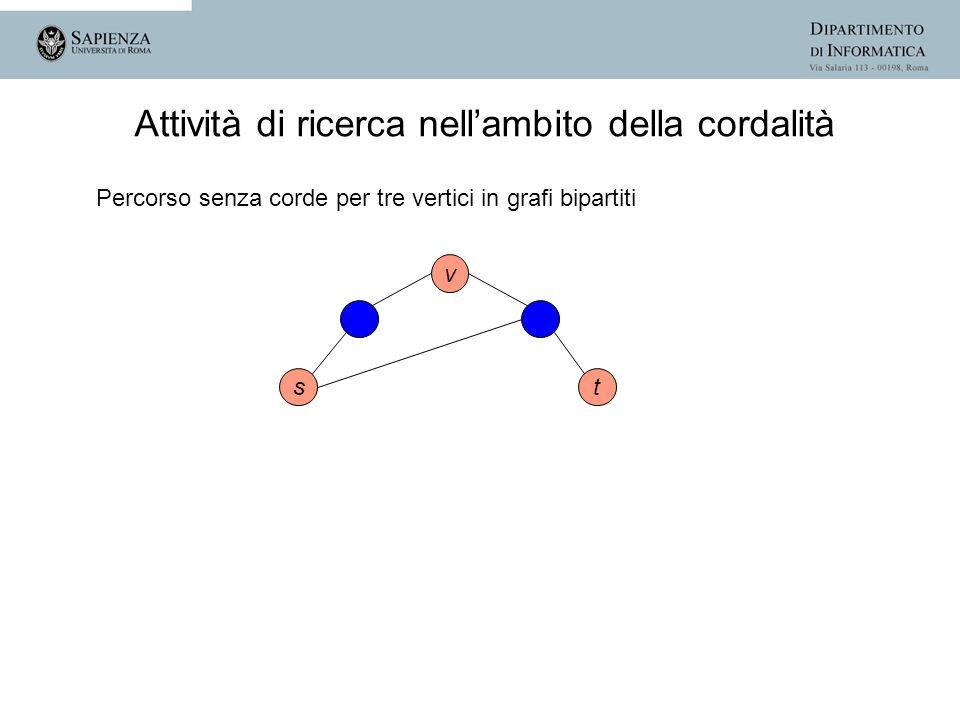 st v Attività di ricerca nellambito della cordalità Percorso senza corde per tre vertici in grafi bipartiti