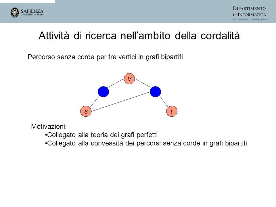 st v Motivazioni: Collegato alla teoria dei grafi perfetti Collegato alla convessità dei percorsi senza corde in grafi bipartiti Attività di ricerca n