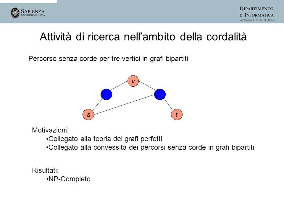 st v Motivazioni: Collegato alla teoria dei grafi perfetti Collegato alla convessità dei percorsi senza corde in grafi bipartiti Risultati: NP-Complet