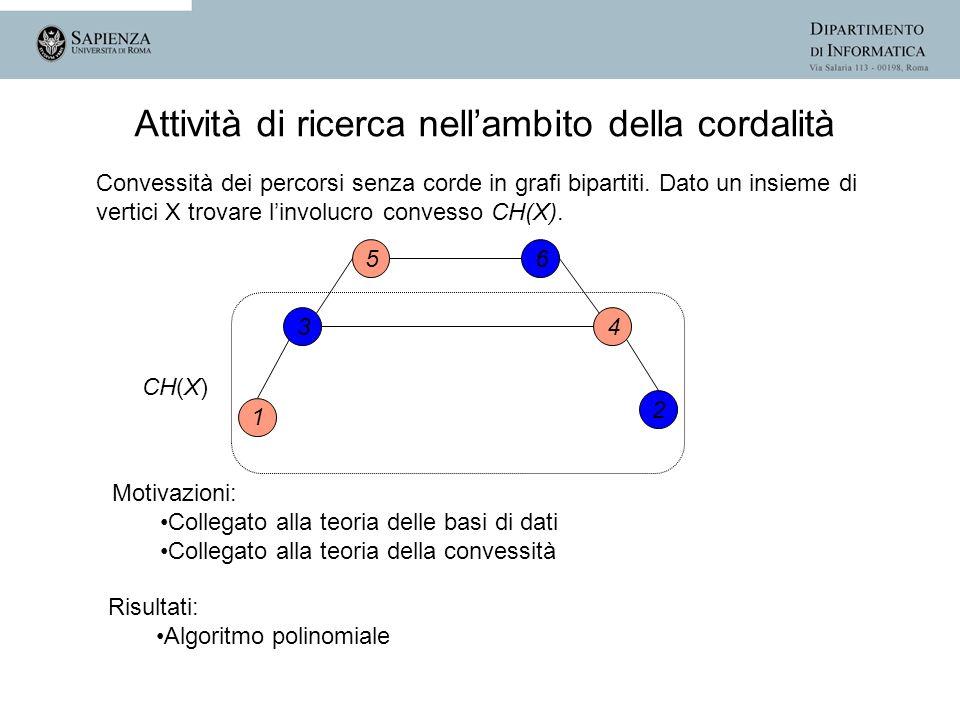 Convessità dei percorsi senza corde in grafi bipartiti. Dato un insieme di vertici X trovare linvolucro convesso CH(X). Attività di ricerca nellambito