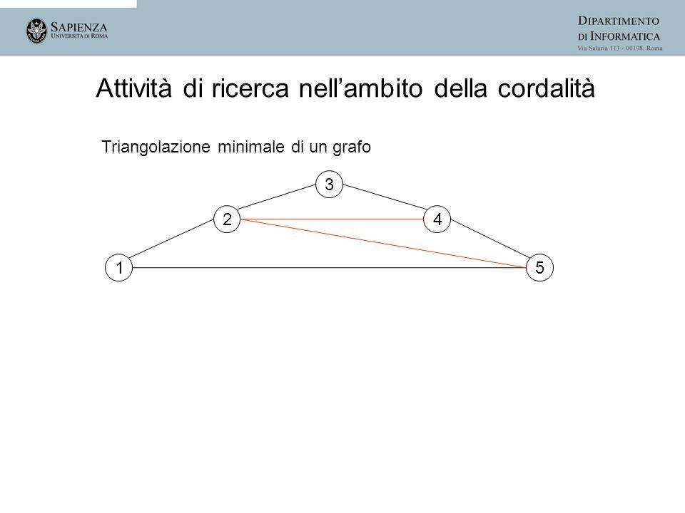 1 2 3 4 5 Attività di ricerca nellambito della cordalità Triangolazione minimale di un grafo