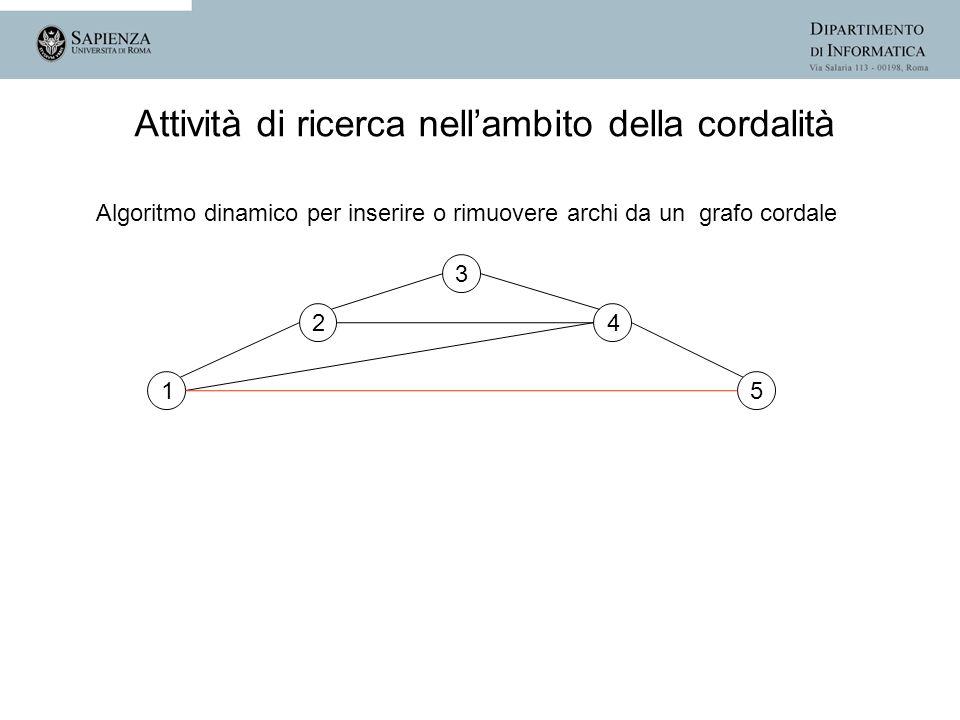 Algoritmo dinamico per inserire o rimuovere archi da un grafo cordale 1 2 3 4 5 Attività di ricerca nellambito della cordalità