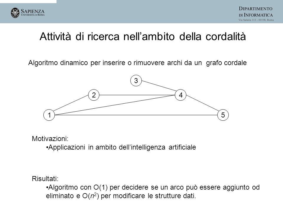 Algoritmo dinamico per inserire o rimuovere archi da un grafo cordale 1 2 3 4 5 Attività di ricerca nellambito della cordalità Motivazioni: Applicazio