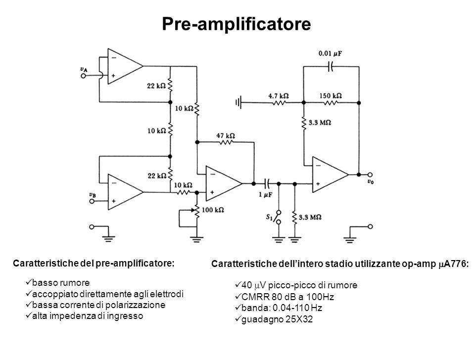 Pre-amplificatore Caratteristiche del pre-amplificatore: basso rumore accoppiato direttamente agli elettrodi bassa corrente di polarizzazione alta imp