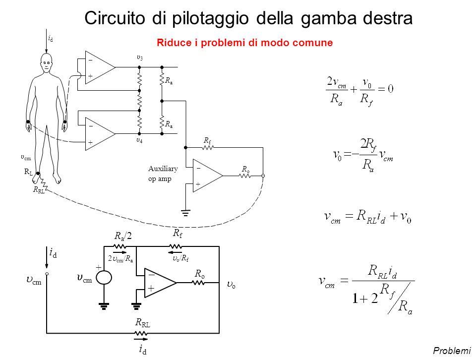 Circuito di pilotaggio della gamba destra + + R RL idid RoRo RfRf idid o /R f 2 cm /R a R a /2 o cm Problemi Riduce i problemi di modo comune