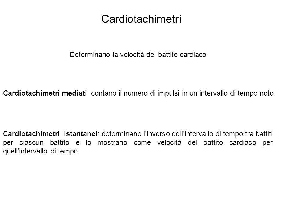 Cardiotachimetri Determinano la velocità del battito cardiaco Cardiotachimetri mediati: contano il numero di impulsi in un intervallo di tempo noto Ca