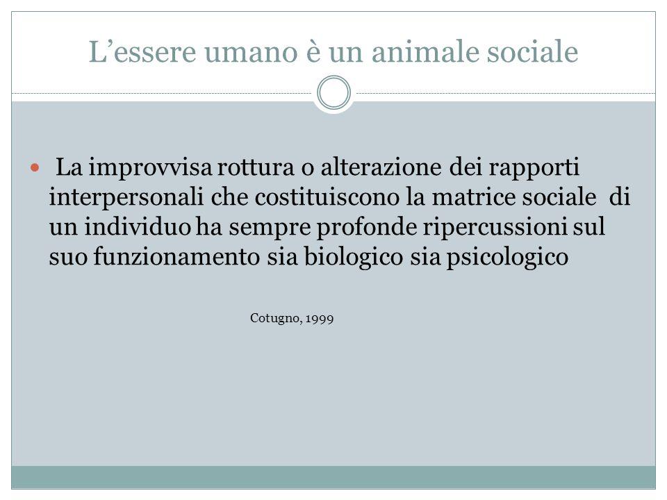 Lessere umano è un animale sociale La improvvisa rottura o alterazione dei rapporti interpersonali che costituiscono la matrice sociale di un individu
