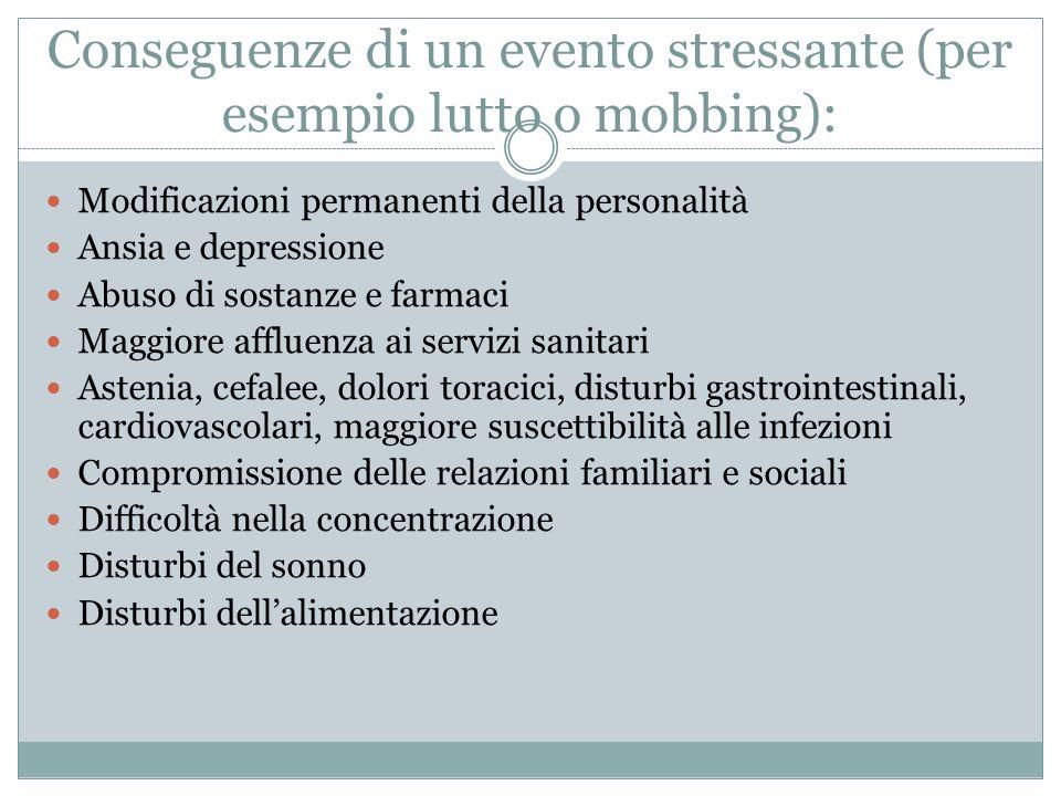 Conseguenze di un evento stressante (per esempio lutto o mobbing): Modificazioni permanenti della personalità Ansia e depressione Abuso di sostanze e