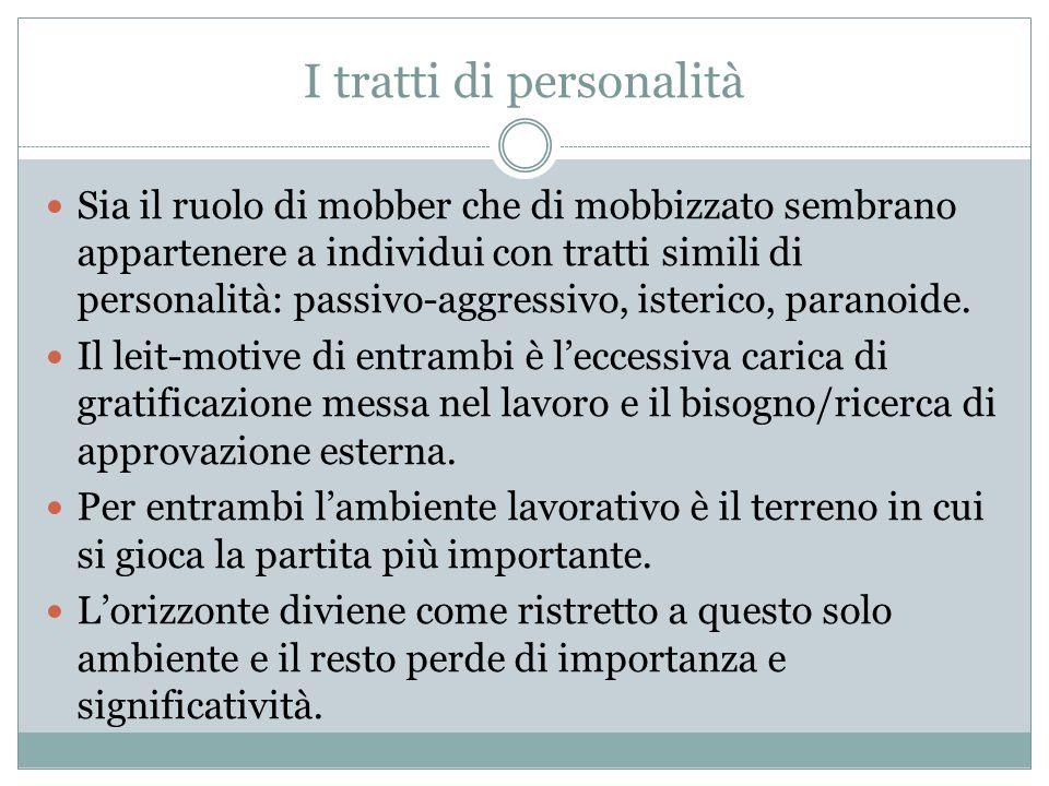 I tratti di personalità Sia il ruolo di mobber che di mobbizzato sembrano appartenere a individui con tratti simili di personalità: passivo-aggressivo