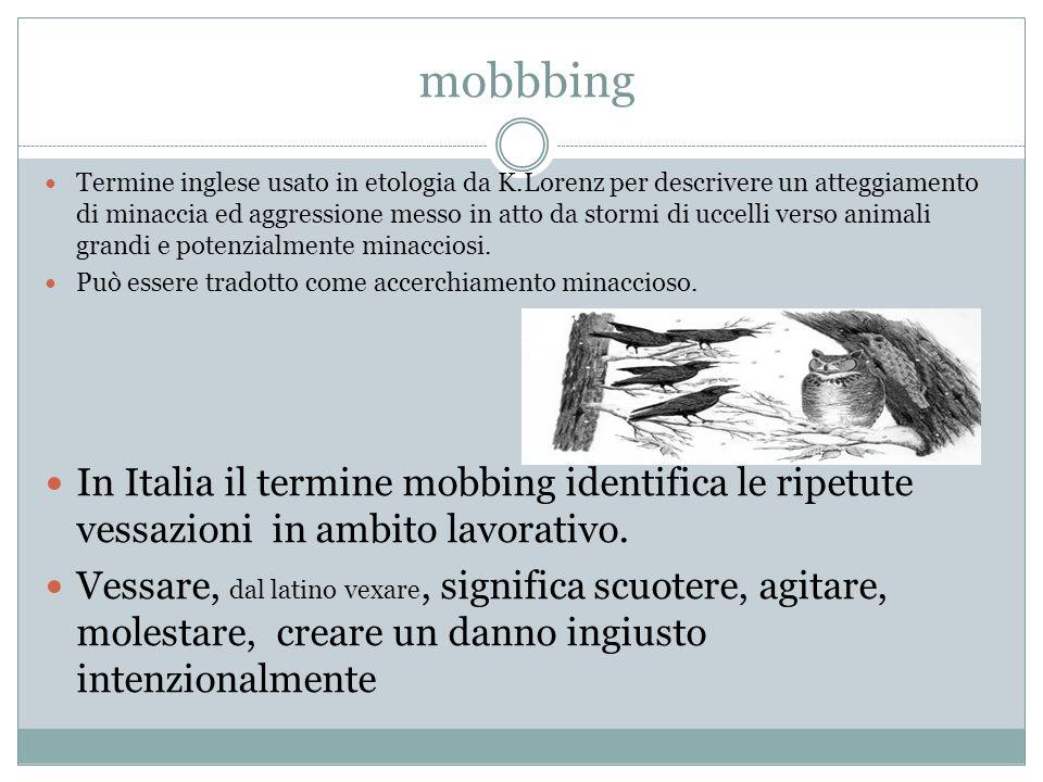 mobbbing Termine inglese usato in etologia da K.Lorenz per descrivere un atteggiamento di minaccia ed aggressione messo in atto da stormi di uccelli v